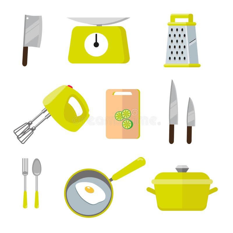 Инструменты винтажной кухни красочные Комплект инструментов для варить Иллюстрация вектора cocooking элементов Иллюстрация внутри иллюстрация штока