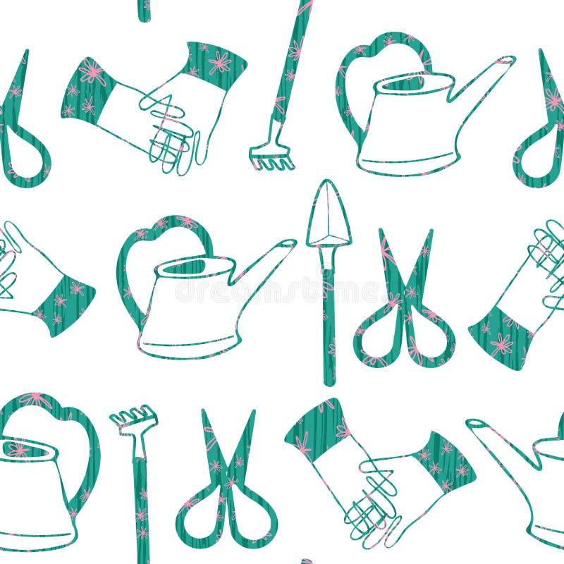 Инструменты вычерченного terrarium руки садовничая украшенные с зеленым и розовым цветочным узором на простой белой предпосылке 1 иллюстрация вектора