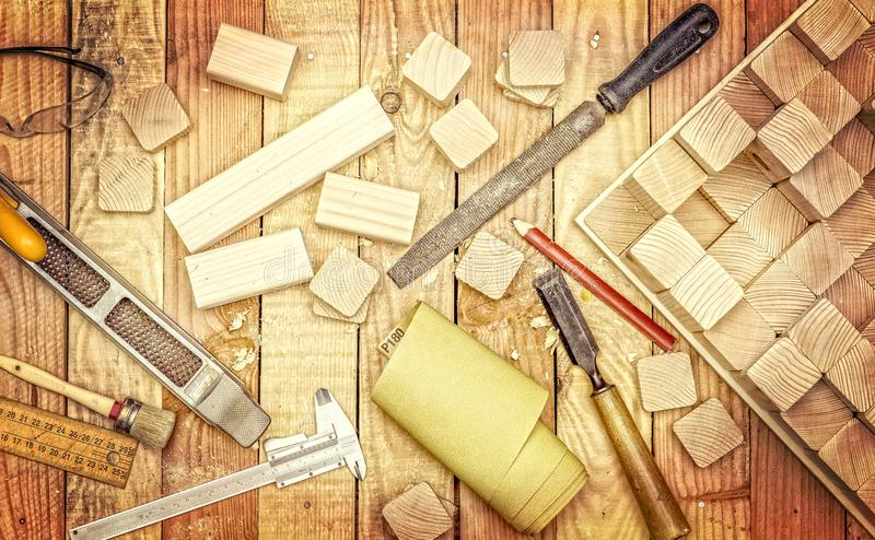 Инструменты для деревянной работы стоковое изображение rf
