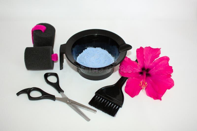 Инструменты для краски волос и предпосылки белизны hairdye Парикмахер установил с краской волос, и щеткой, ножницами и curlers Ус стоковые фотографии rf