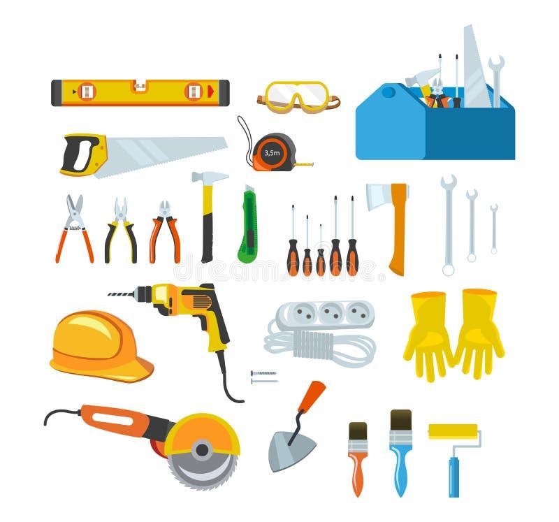 Инструменты деятельности, оборудование для ремонта и конструкция в доме иллюстрация вектора