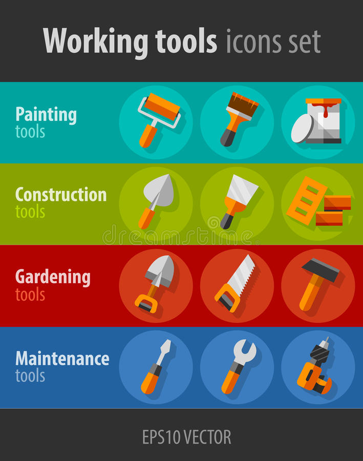 Инструменты деятельности для установленных значков конструкции и обслуживания плоских бесплатная иллюстрация
