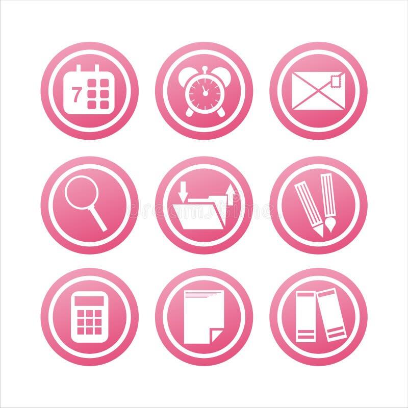 инструменты знаков офиса розовые иллюстрация вектора