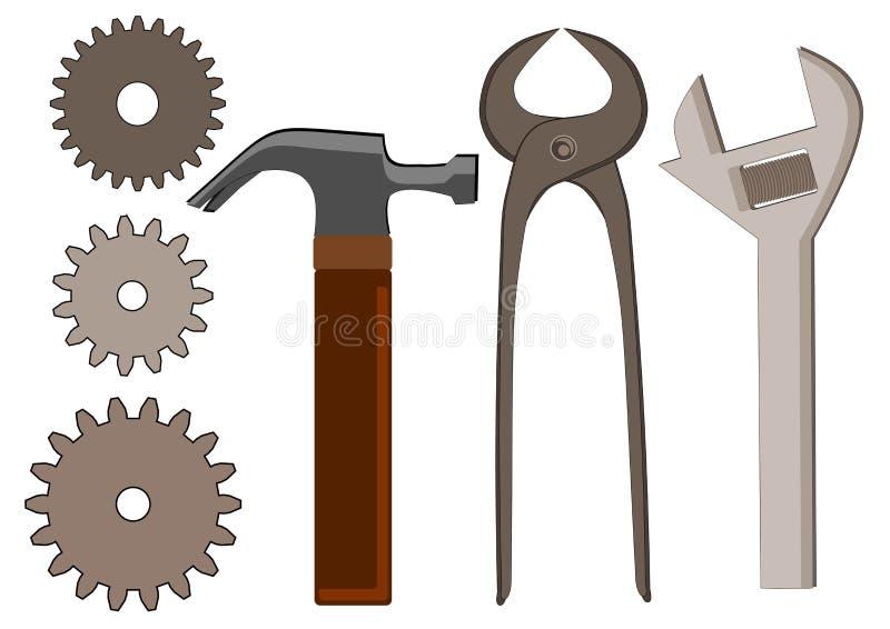 Инструменты и шестерни иллюстрация штока