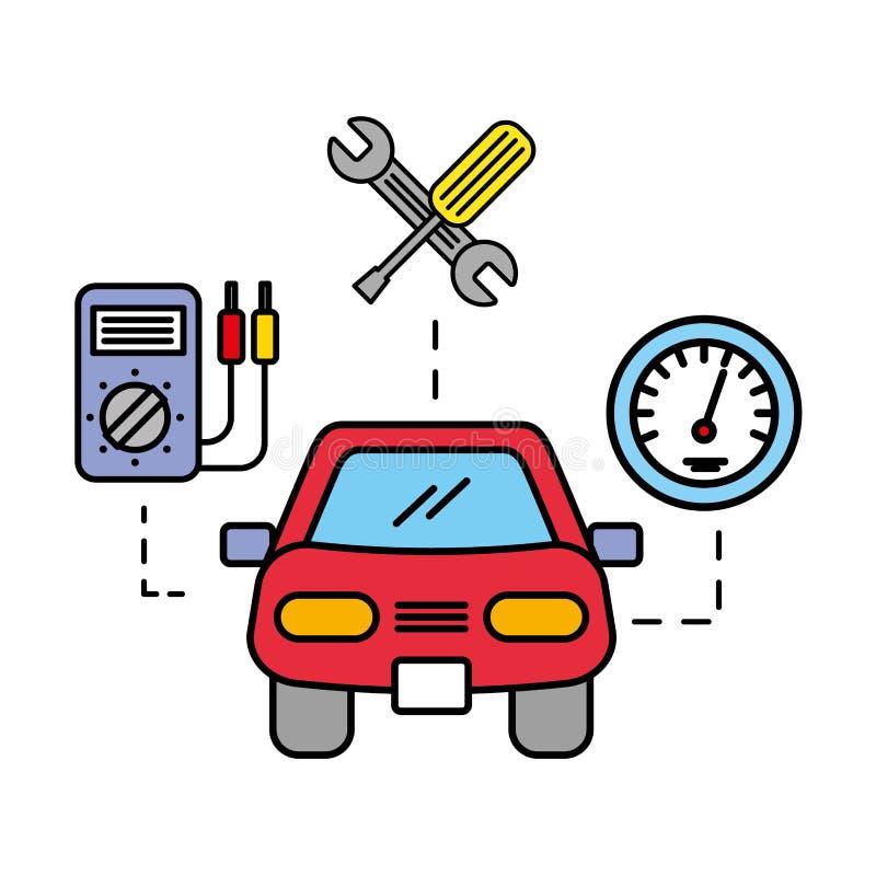 Инструменты корабля автомобиля диагностические и обслуживание спидометра автомобильное иллюстрация штока
