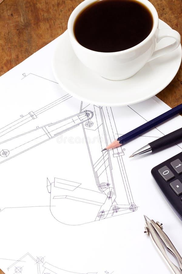 инструменты кофе чертя стоковые фотографии rf