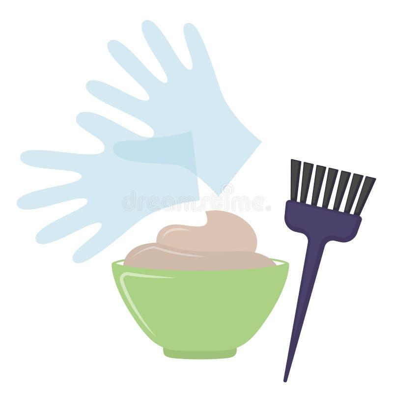 Инструменты краски волос иллюстрация штока