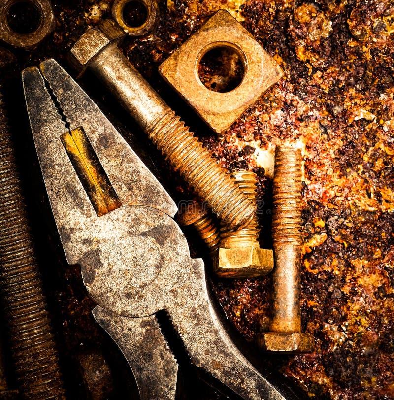 инструменты макроса предпосылки ржавые стоковое фото