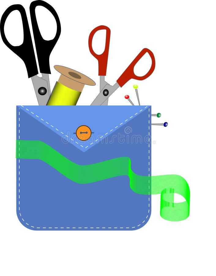 Инструменты модельера в кармане Домашняя мастерская: игла и ножницы иллюстрация штока