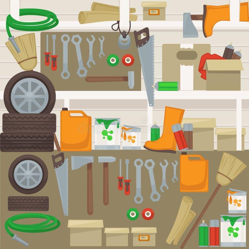 Инструменты работы на стене в гараже иллюстрация вектора