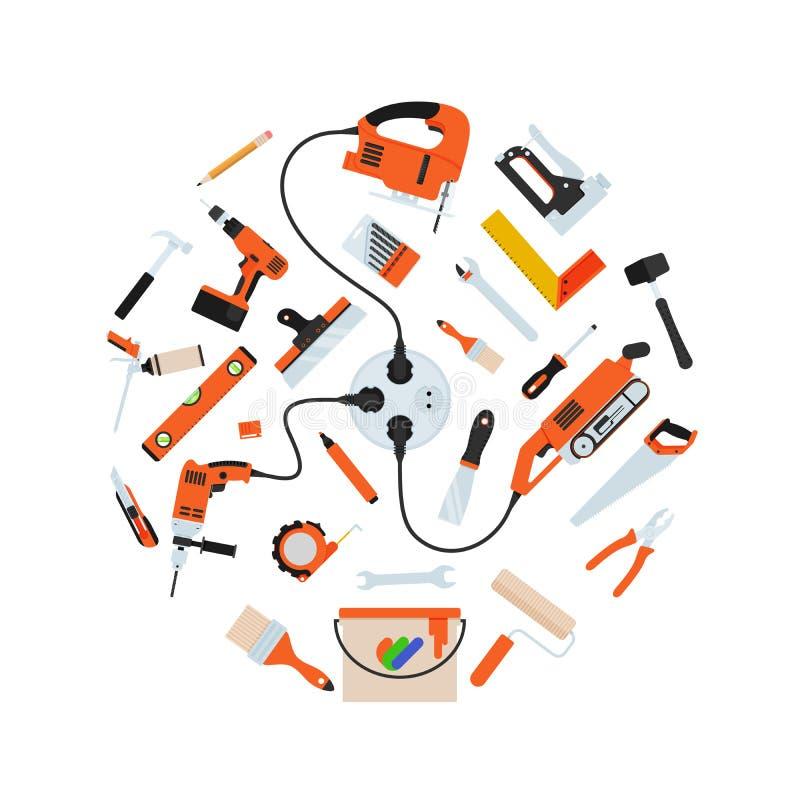 Инструменты ремонта конструкции в составе круга иллюстрация штока