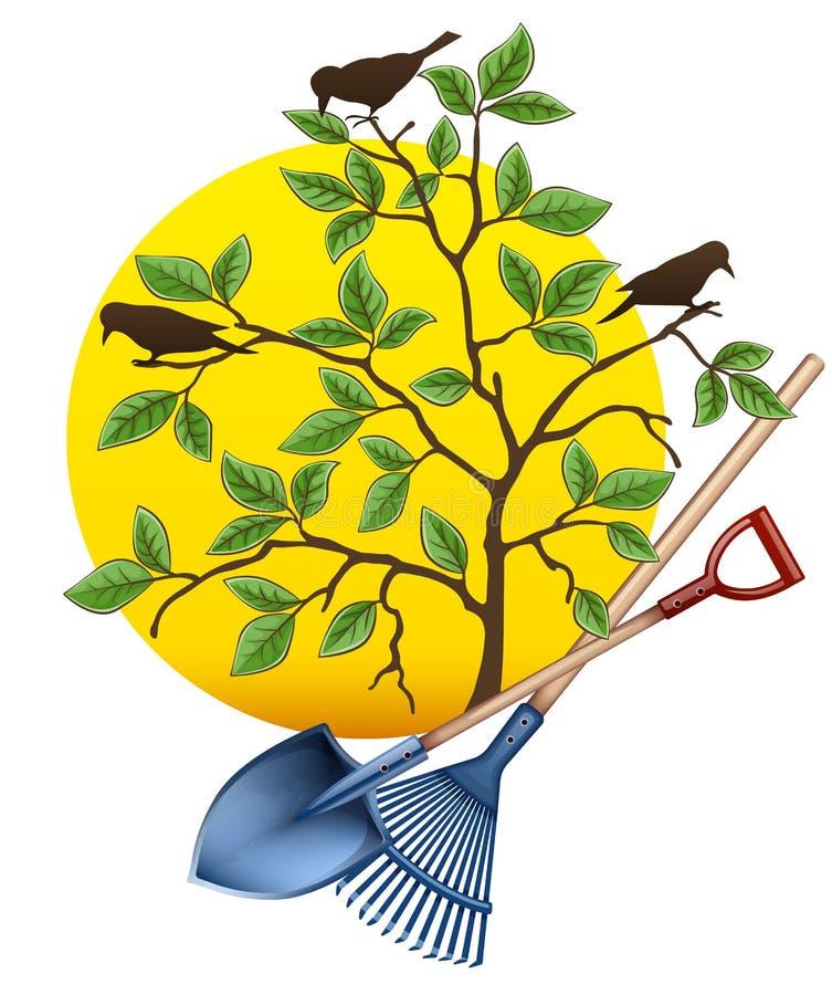 Инструменты садовничая оборудования Лопаткоулавливатель, грабл и дерево r иллюстрация вектора