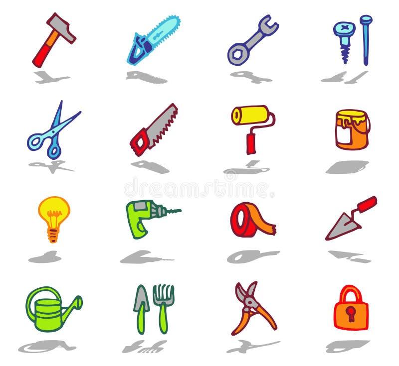 инструменты установленные иконами иллюстрация вектора