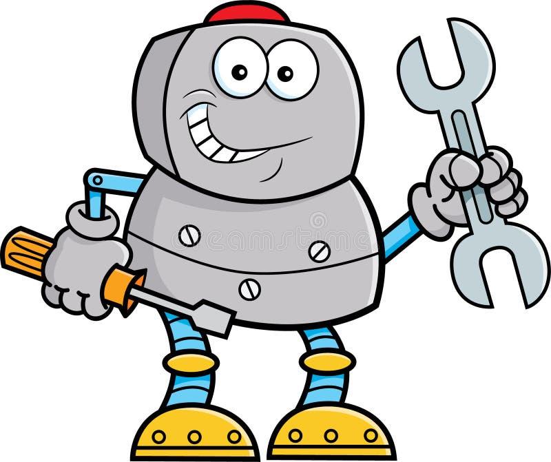 Инструменты удерживания робота шаржа иллюстрация вектора