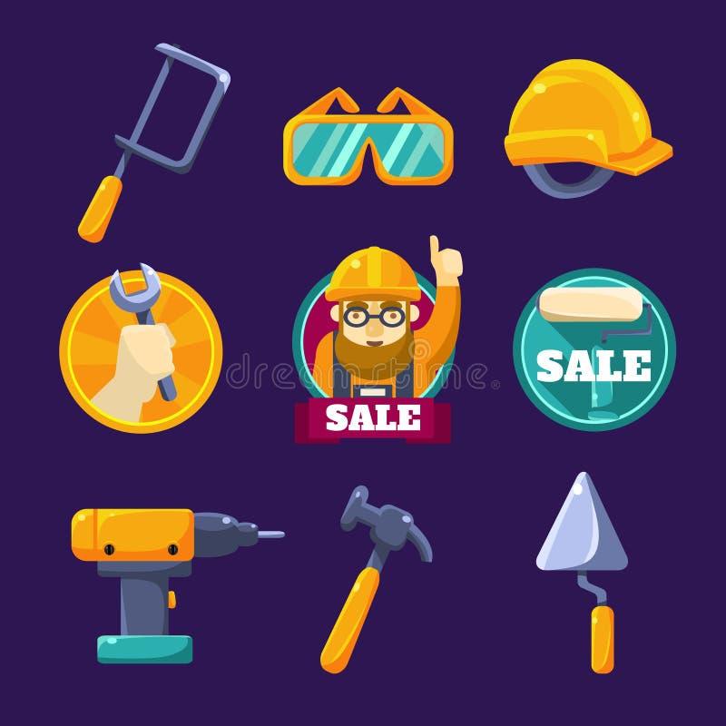 Инструменты для строить, продажа резюмируйте вектор экрана цветов кнопки предпосылки голубой лоснистой изолированный иллюстрацией иллюстрация штока