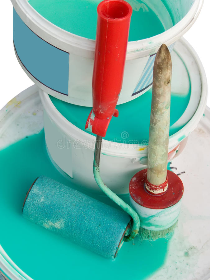 инструменты platen колеривщика дома щетки стоковые изображения rf
