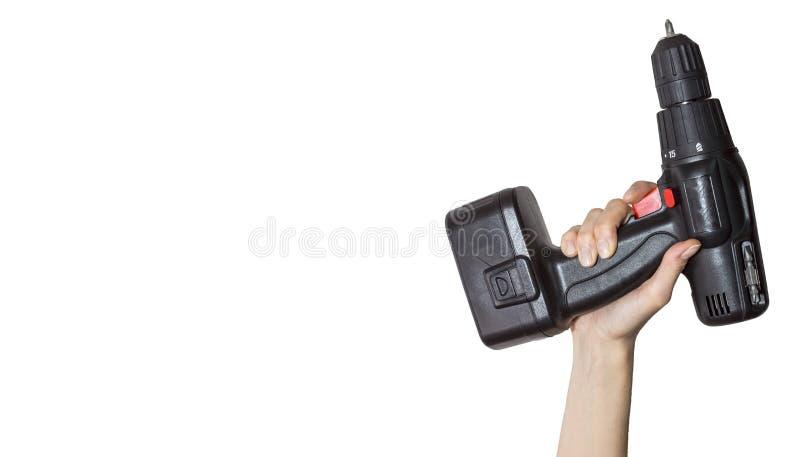 Инструмент в руке на белой предпосылке стоковое изображение rf