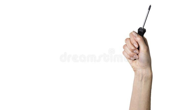 Инструмент в руке на белой предпосылке стоковые изображения rf