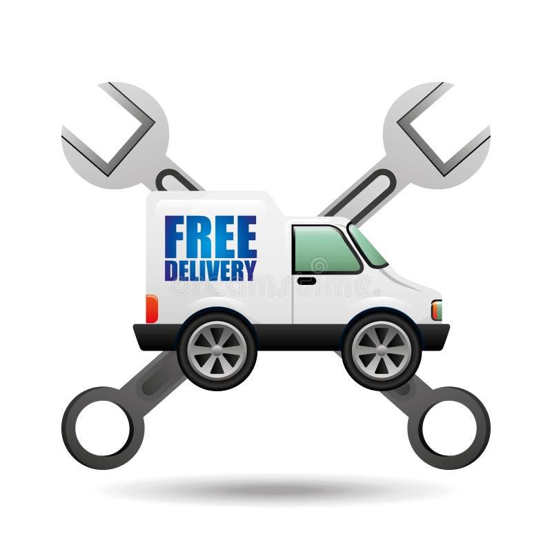 Инструмент значка бесплатной доставки тележки иллюстрация штока