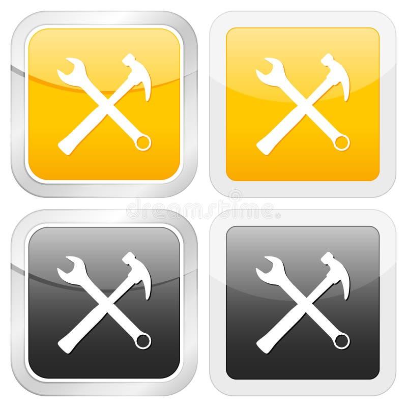 инструмент иконы квадратный иллюстрация вектора