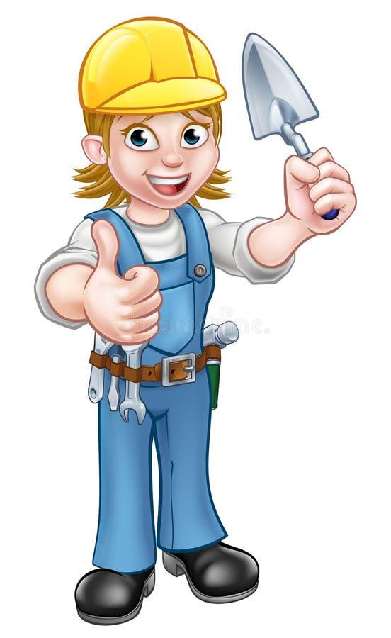 Инструмент лопаткы рабочий-строителя каменщика построителя иллюстрация штока