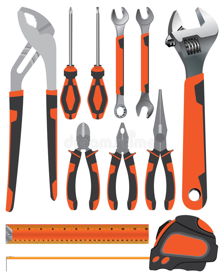 Инструмент объекта Плоскогубцы при ключ и отвертка на оранжевом и темном сером цвете изолированные на белой предпосылке иллюстрация вектора