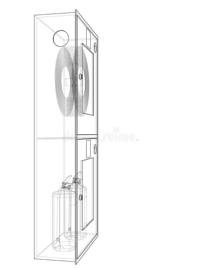 Инструмент пожарного в шкафе пожарного рукава r бесплатная иллюстрация