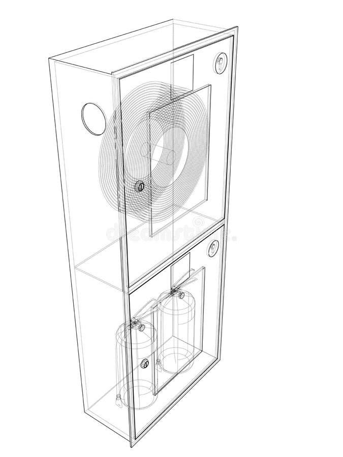 Инструмент пожарного в шкафе пожарного рукава r иллюстрация штока