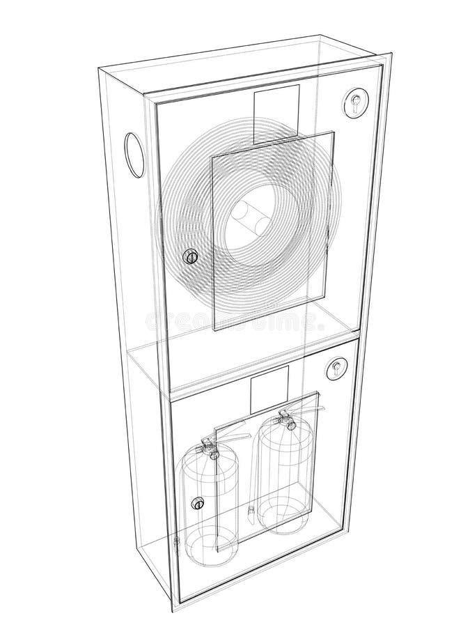 Инструмент пожарного в шкафе пожарного рукава r иллюстрация вектора