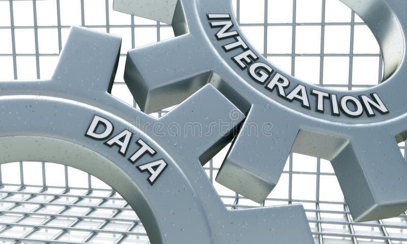 Интеграция данных на механизме шестерней металла иллюстрация вектора