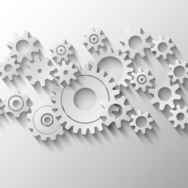 Интегрированная эмблема cogs и шестерней иллюстрация штока