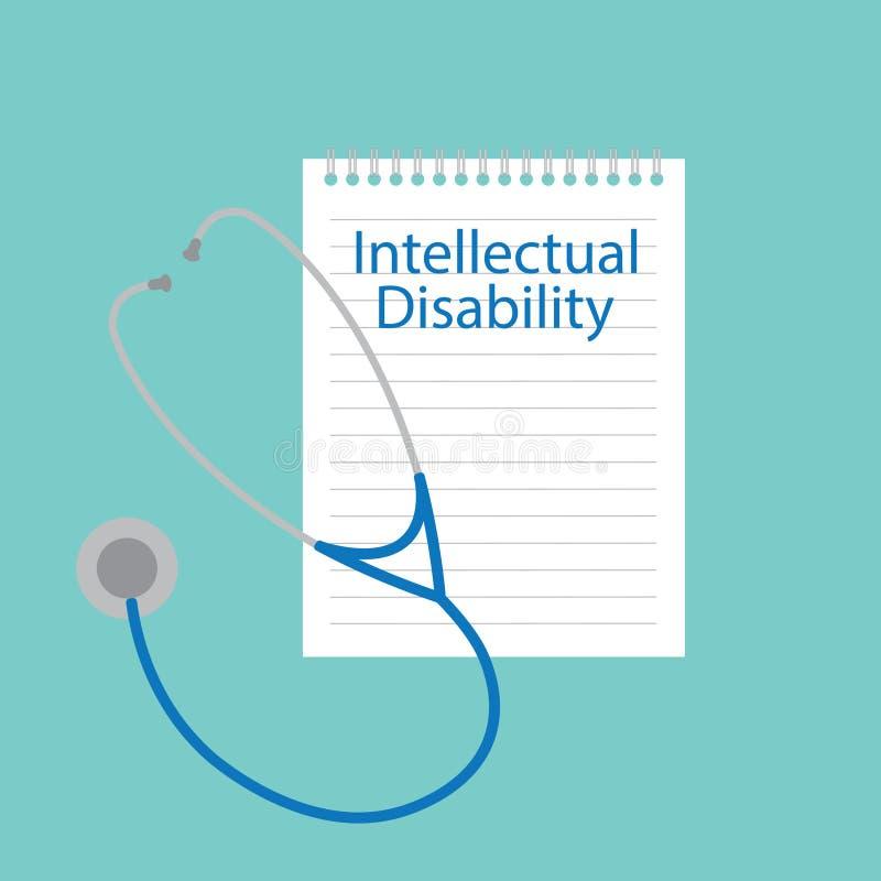 Интеллектуальная инвалидность написанная в тетради иллюстрация штока