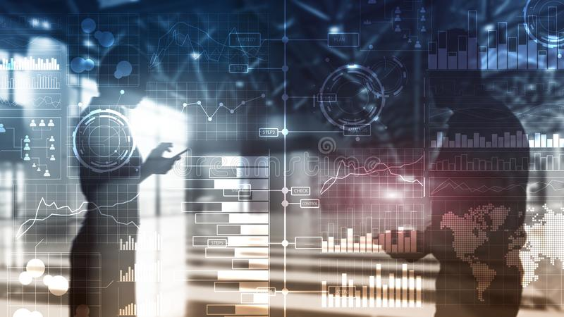 Интеллектуальный ресурс предприятия Диаграмма, диаграмма, торговля акциями, приборная панель вклада, прозрачная стоковые изображения