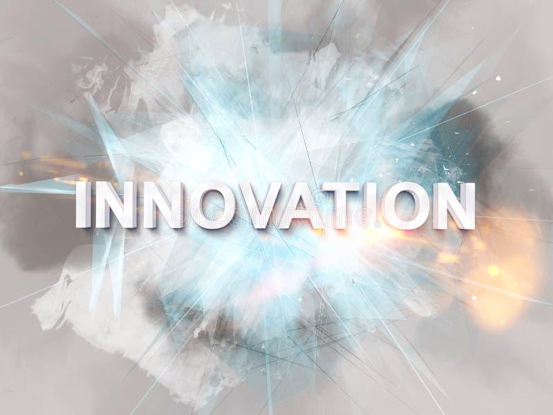 Интенсивный логотип нововведения в белом тексте иллюстрация штока