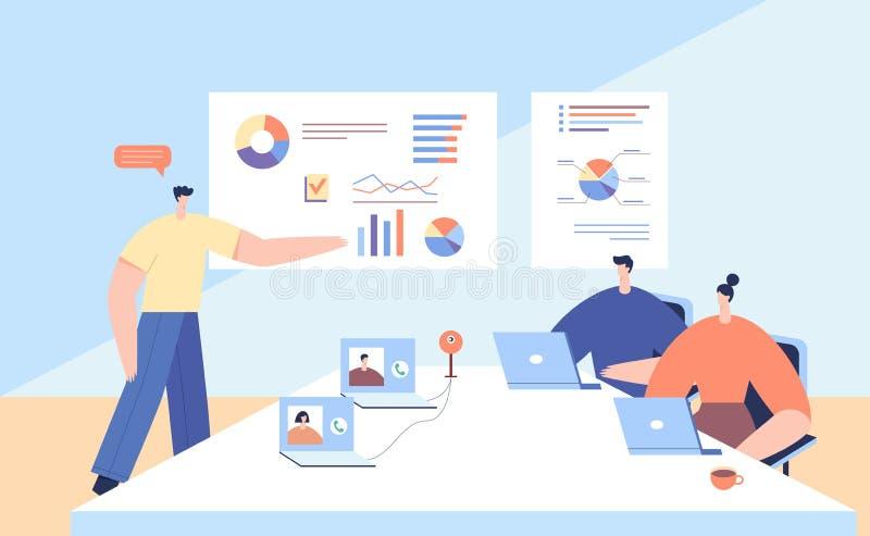 Интерактивная конференция с деловыми партнерами Групповое мышление и мозговой штурм Люди обсуждают результаты корпораций с помощь иллюстрация вектора