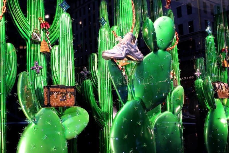 Интересный дисплей окна высококачественных портмон и тапок установил на яркие ые-зелен заводы кактуса, 5-ый бульвар, Нью-Йорк, 20 стоковые фото