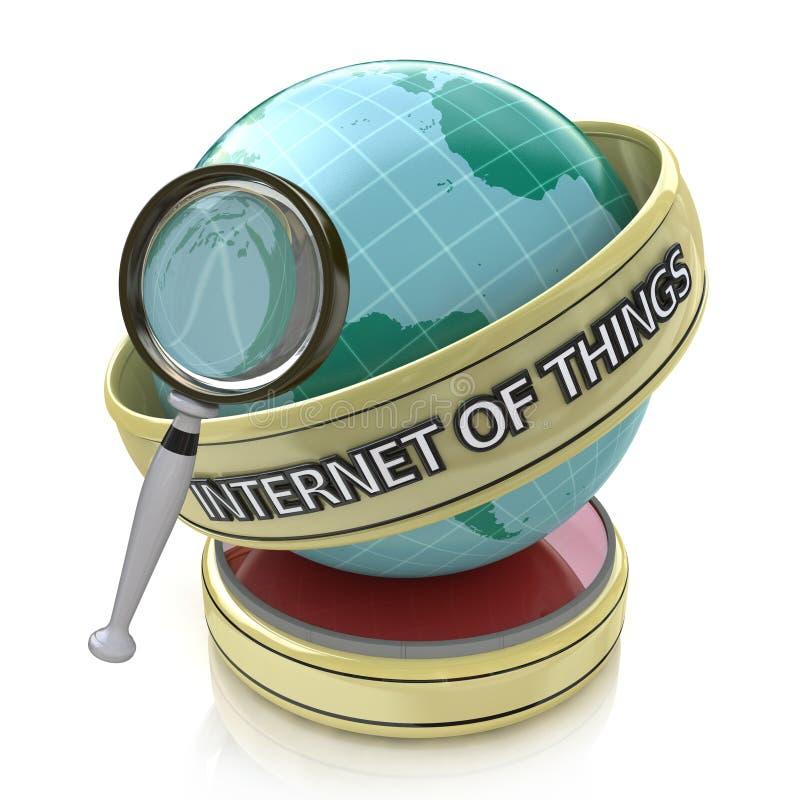 Интернет вещей ищет через лупу на глобусе иллюстрация вектора