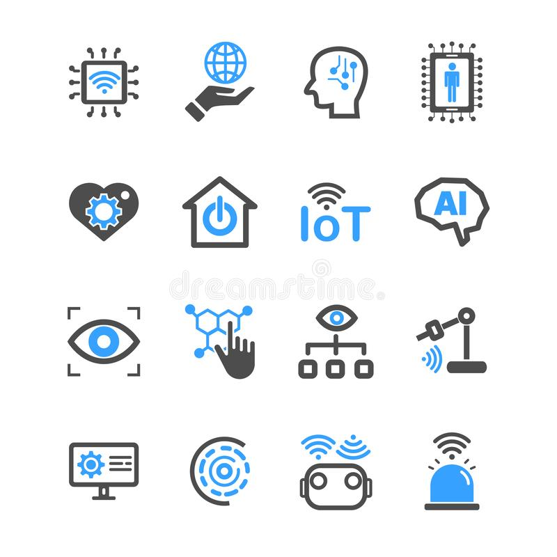 Интернет вещей и значков искусственного интеллекта Робот и промышленная концепция технологии Ход глифа и планов r бесплатная иллюстрация