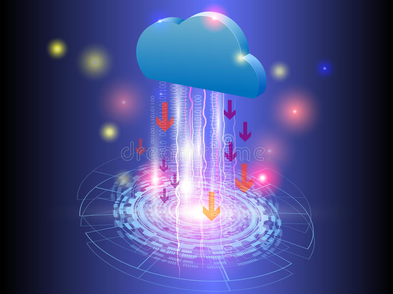 Интернет вещей, передача технологии вектора облака иллюстрация вектора