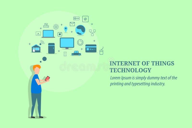Интернет вещей, технология сети, мобильный, умный дом, банк, концепция беспроводной связи Плоское знамя вектора дизайна иллюстрация штока