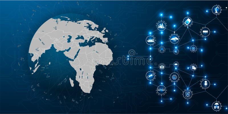 Интернет вещей IoT r Дело вектора Графическая связь предпосылки Концепция безопасностью технологии иллюстрация вектора