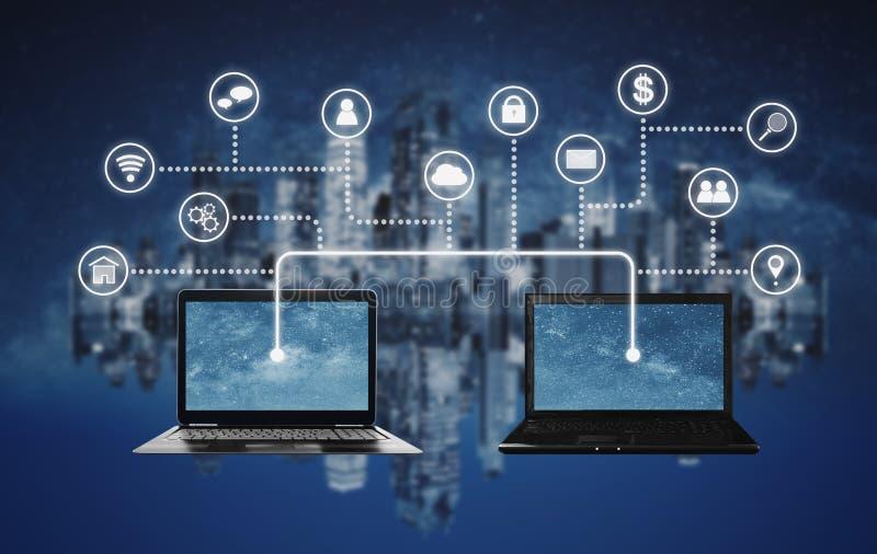 Интернет, вычислять облака и концепции технологии blockchain Делить и соединение ноутбука компьютера совместно стоковое фото