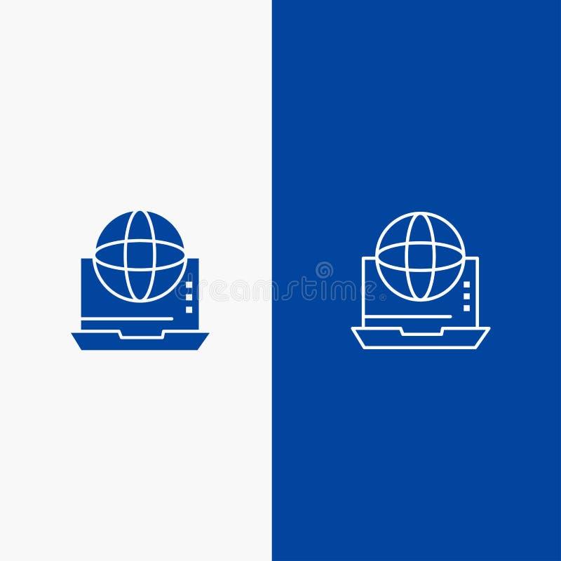 Интернет, дело, сообщение, соединение, сеть, значок линии и глифа знамени онлайн значка линии и глифа твердого голубой твердый иллюстрация штока