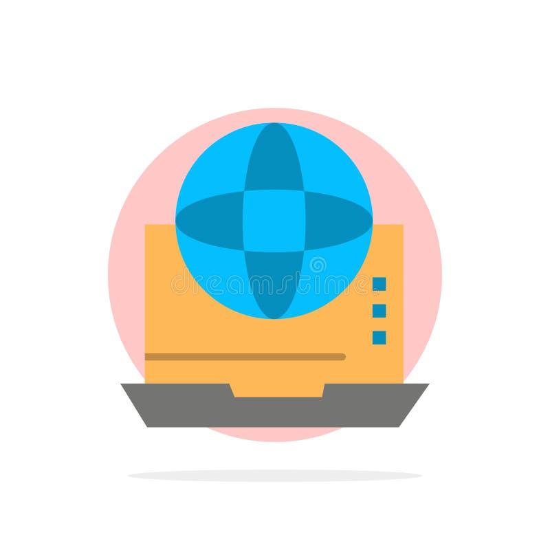Интернет, дело, сообщение, соединение, сеть, значок цвета онлайн абстрактной предпосылки круга плоский иллюстрация штока