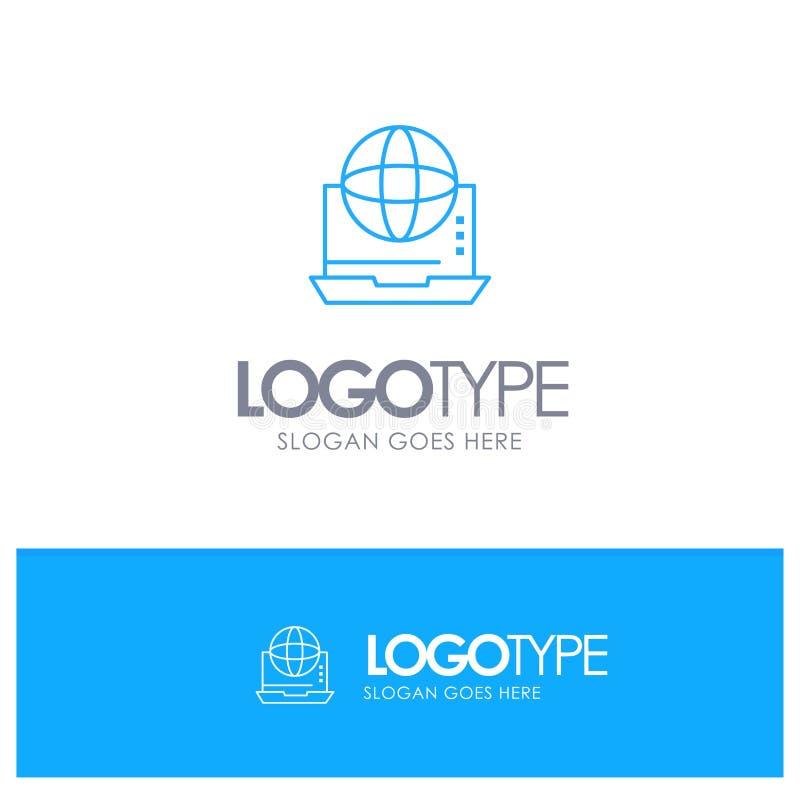 Интернет, дело, сообщение, соединение, сеть, онлайн голубой логотип плана с местом для слогана бесплатная иллюстрация