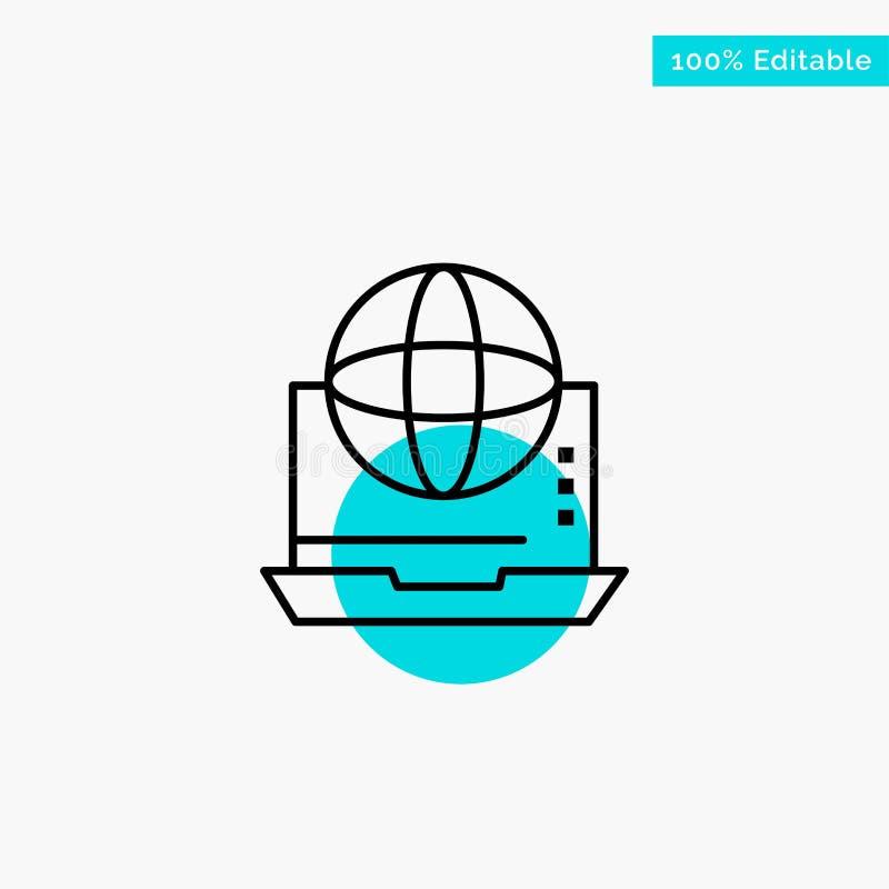 Интернет, дело, сообщение, соединение, сеть, онлайн значок вектора пункта круга самого интересного бирюзы бесплатная иллюстрация