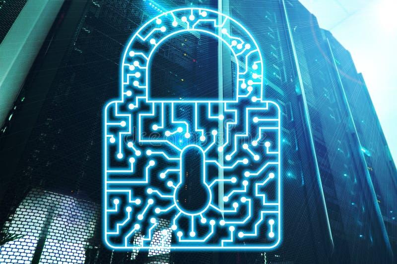 Интернет защиты данных уединения данным по значка замка безопасностью кибер и концепция технологии стоковые изображения rf