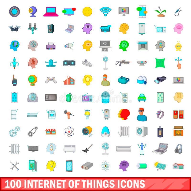 интернет 100 значков вещей установил, стиль шаржа иллюстрация штока