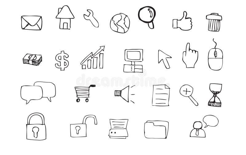 интернет иконы doodle иллюстрация штока