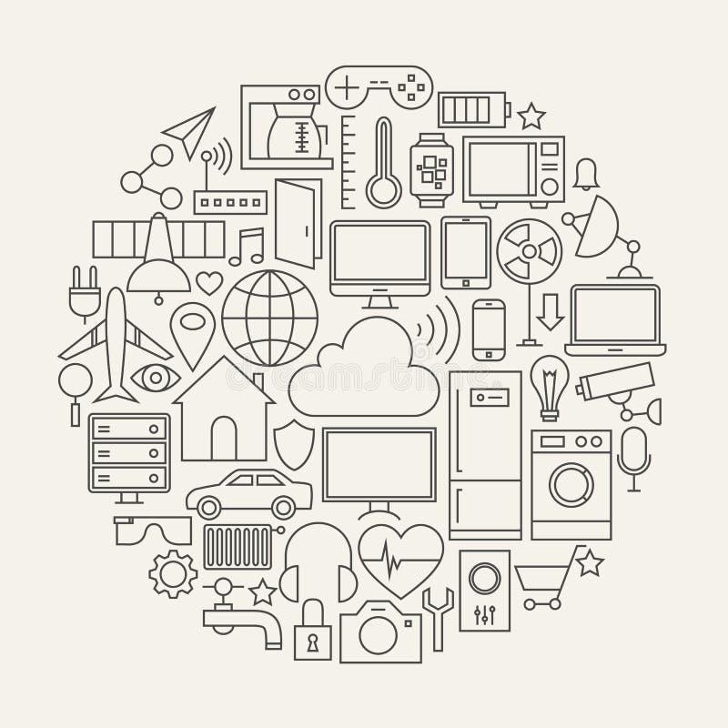 Интернет линии установленной значками формы вещей круга бесплатная иллюстрация